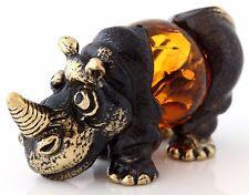 Honey Baltic Amber Rhinoceros Miniature Figurine Solid Brass Animal Sculpture