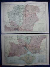 Original antique map x 2, NORTH & SOUTH HAMPSHIRE, RAILWAYS, G.W. Bacon, 1896