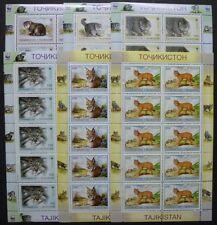 TAJIKISTAN 1996 WWF Wild Cats Cpl Sheets of 10 Scott #92-97 CV $120 MNH