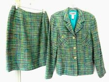 Vintage Lew Magram Collection Skirt Suit-8, blue multi