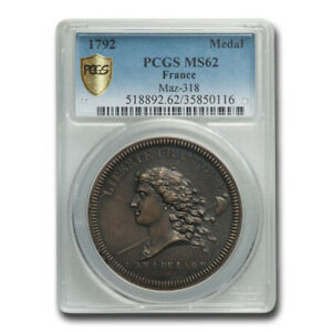 1792 France National Convention Medal MS-62 PCGS - SKU#220534