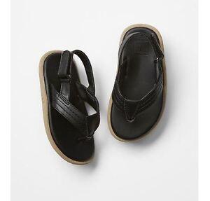 GAP Toddler Ankle-Strap Flip Flops Sandals - Black 5-6T/7-8T/9-10T NWT