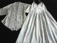 Womens Long Nightdress + Short Robe Set S Vintage Lacy White Floral Satin NEW