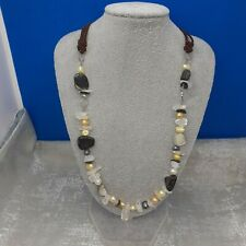 Shell- Cultured Pearl- Necklace -gemstones chipped - crystals - Brown Cord