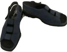 """Spring Step Blue Suede-3 Strap Across-Adj Ankle Strap-1,5""""Wedge-NWOB-Size 38/7M"""