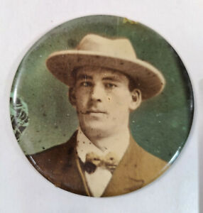 Vintage Gangster Looking Man Celluloid Photo Round 2 1/2""