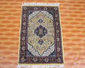 Oriental Carpet Yoga 2x3 ft Afghan Hand Knotted Rugs Door Mat Gold Color Silk