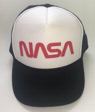 Vtg 80s Nasa Snapback Hat Cap mesh trucker cap space black red and white