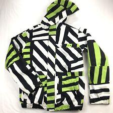 Burton Poacher Jacket Mens Medium White Black Stripe Snowboard Ski Hooded
