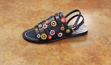 New! Tory Burch 'Marguerite' Blue Leather Floral Sandals Womens 5 M MSRP $275
