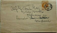 CEYLON 1895 FIVE CENTS STATIONERY WRAPPER WITH KANDEPOLA POSTMARK