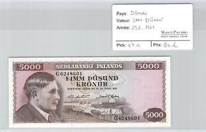 Islande 5000 Kronur 29.3.1961 n° G6248601 Pick 47a