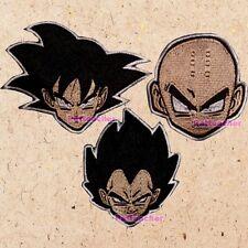 Lot of 3 Dragon Ball Z Heads Patches Goku Vegeta Krillin Kuririn DBZ Kai GT