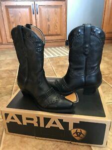 Ariat Dixie 10001367 Black Leather Cowboy Western Boots Black Deertan Sz 6.5 B