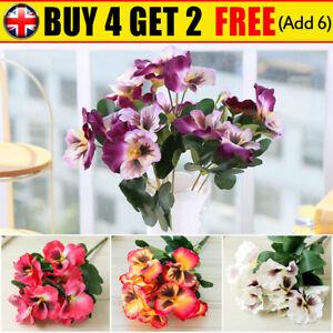 10 Heads Artificial Silk Flowers Pansy Bunch Home Garden Wedding Outdoor Decor
