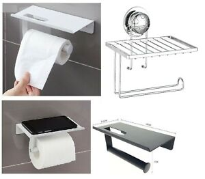 Toilet Roll Holder Wall Mounted With Mobile Phone Storage Bathroom Shelf New