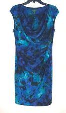 Ralph Lauren Sheath Dress 12 Blue Floral Cap Sleeve Cowl Neck Stretch Career