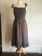 Beautiful Whistles Grey/Mink Silk Cami Dress Tie Ribbon Pleated Front Size 10