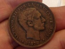 Metal Detector find- Authentic Spanish King Alfonso XII Big 10 Centimo Coin! V3