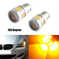 2x 18 SMD LED BAU15S 7507 Yellow LED Bulb For Car Turn Signal Light Lamp