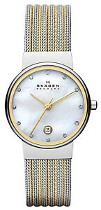 Skagen 355SSGS Ancher Mother of Pearl Dial Two Tone Stainless Women's Watch