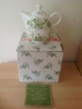 BNIB TED BAKER TEA FOR ONE WHITE & GREEN LEAF TEAPOT & CUP SET - BRAND NEW
