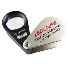 Illuminated Dual Power LED Loupe 20X 40X Magnifier NIB