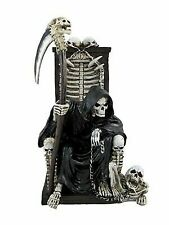 Grim Reaper on Throne With Undead Skeleton Pet Statue by Things2die4 HH35916
