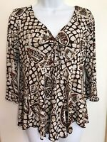 CATO Size Medium Empire Waist Lined Brown/Rust Animal Print Blouse Top Stretch