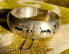 Vintage MEXICO Sterling Silver Buffalo Hunt Native Mexican Wide Cuff Bracelet