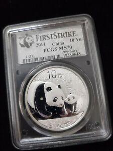 2011 China Silver  Panda 10 Yn, 1oz .999 Fine (PCGS certified MS70 1st STRIKE)