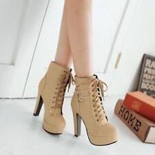 Casual Lady Shoe Faux Leather Platform Lace Up Block High Heel Boots Shoes Sz