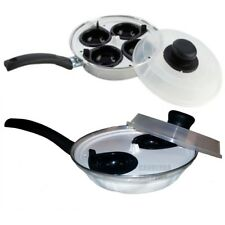 Egg Poacher Pan Non-Stick Cup Egg Boiler Saucepan Cookware with Plastic Lid
