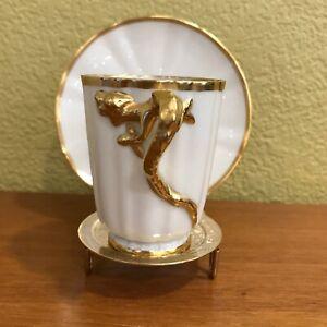 Willets Belleek Demitasse Cup & Saucer -  Cream porcelain w/ Gold Dragon design