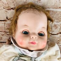 "Vtg Red Hair Baby Girl Doll 20"" creepy sleepy eyes vtg clothes 50s 60s"