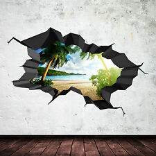 FULL COLOUR PARADISE BEACH OCEAN CAVE CRACKED 3D WALL ART STICKER DECAL MURAL 2