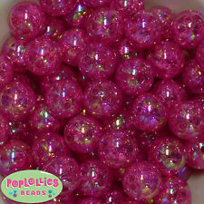20mm Hot Pink Crackle Style Acrylic Chunky Bubblegum Beads 20 pc