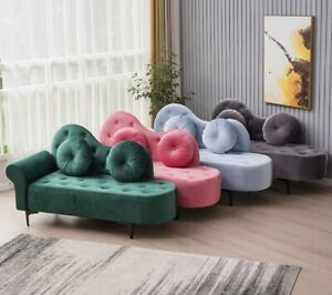 Chaise Lounge Chair Day Bed Velvet Fabric 1.4M Bedroom Bench 8 Colours
