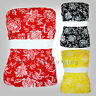LADIES BOOB TUBE BANDEAU STRAPLESS TOP FLORAL BLACK RED YELLOW WHITE 8 10 12
