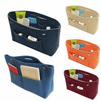 Women Portable Felt Fabric Purse Handbag Organizer Bag Multi Pocket Insert