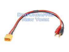 Heavy Duty Charger Cable: XT60 Male to 4mm Female Bullet/Banana, 1ft 14AWG, LiPo