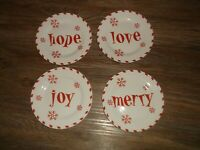 "4 My Christmas Holiday Expression Dessert Plates 7 1/2"" Hope Joy Merry Love"