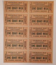 "RARE CANADIAN ""GEORGIAN BAY CREAMERY- PARRY SOUND-1 QUART"" FULL SHEET OF COUPONS"