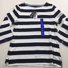 New NAUTICA Chambray Cuff Top Striped Navy Women's L Large Top NWT