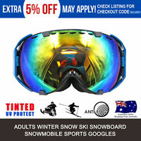 Blue Frame Snowboard Snowmobile Ski Sports Winter GOGGLES UV Tinted Lens