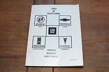 1993 GM Supplement Shop Service Manual Lumina Grand Prix Cutlass Supreme Regal