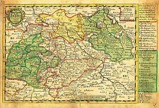 """Schreiber Map - """"NEUE REISSE CHARTE DURCH SACHSEN"""" -  Hand-Col'd. Eng. - 1749"""