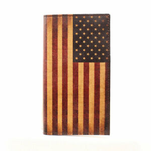 Nocona Mens Leather Wallet Rodeo Vintage USA Flag Design N5416497