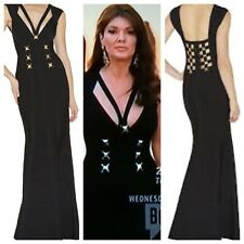 Herve Leger XS Black Gold Hardware Eloni Lisa Vanderpump Dress Gown-$2390.00-XS