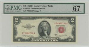 1953C $2 Legal Tender FR#1512 PMG 67 EPQ Superb Gem